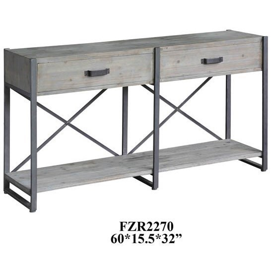Accent Furniture Iron Junction 2 Drawer Metal and Wood Rustic by Crestview Collection at Factory Direct Furniture