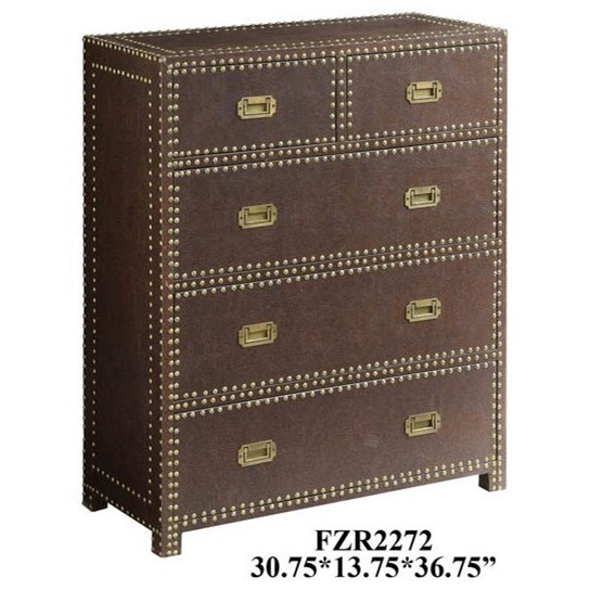 Accent Furniture Churchill Faux Leather Chest by Crestview Collection at Factory Direct Furniture