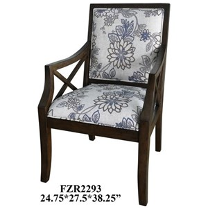 Sylvia Floral Linen Pattern Accent Chair w/