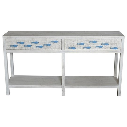Accent Furniture  Antique White 2 Drawer Aqua Console by Crestview Collection at Factory Direct Furniture