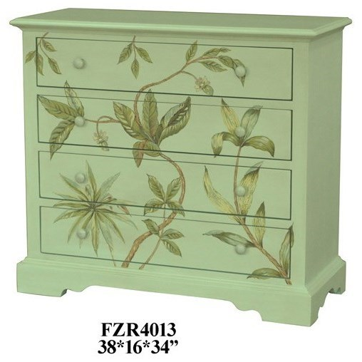 Accent Furniture Floral 4 Drawer Chest by Crestview Collection at Factory Direct Furniture