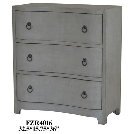 3 Curved Drawer Grey Linen Chest