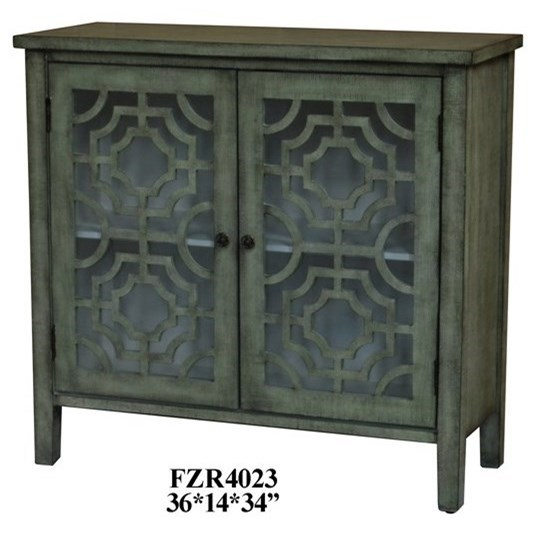Light Green 2 Door Patterned Cabinet