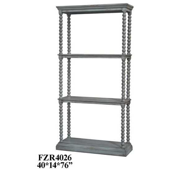 Accent Furniture Turned Leg Antiqued Grey Etagere by Crestview Collection at Factory Direct Furniture