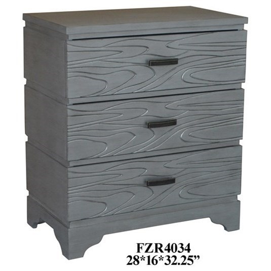 Accent Furniture Silver Groove 3 Drawer Accent Chest by Crestview Collection at Factory Direct Furniture
