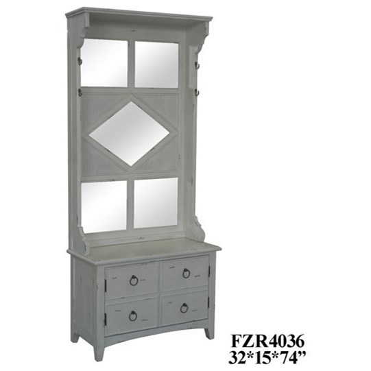 Accent Furniture Antique White Mirrored Hall Tree by Crestview Collection at Factory Direct Furniture