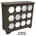 Crestview Collection Accent Furniture 3 Drawer Rustic Wood and Mirrored Chest - Item Number: CVFZR4047