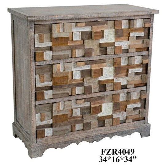 Accent Furniture 3 Drawer Raised Block Chest by Crestview Collection at Factory Direct Furniture