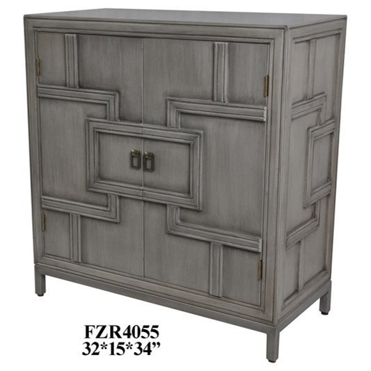 Accent Furniture 2 Door Geometric Design Grey Cabinet  by Crestview Collection at Factory Direct Furniture