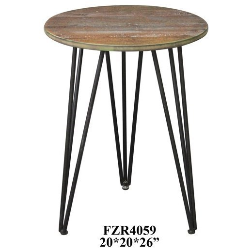 Accent Furniture Rustic Wood and Metal Accent Table by Crestview Collection at Factory Direct Furniture
