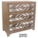 Crestview Collection Accent Furniture Rustic Wood and Mirror 3 Drawer Chest - Item Number: CVFZR4071