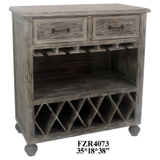 Accent Furniture Chestnut Wash 2 Drawer Wine Cabinet by Crestview Collection at Factory Direct Furniture