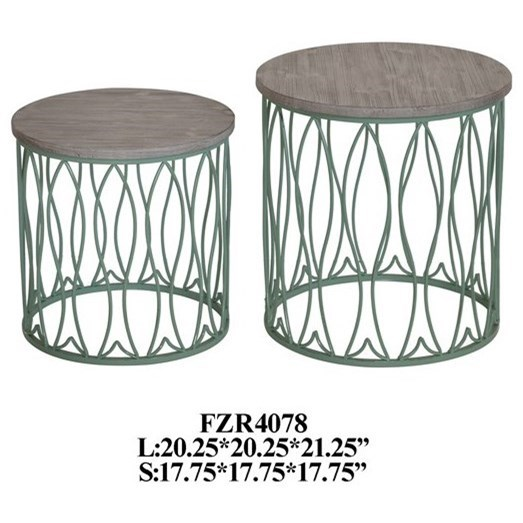 Seafom Green Metal Fish Accent Tables