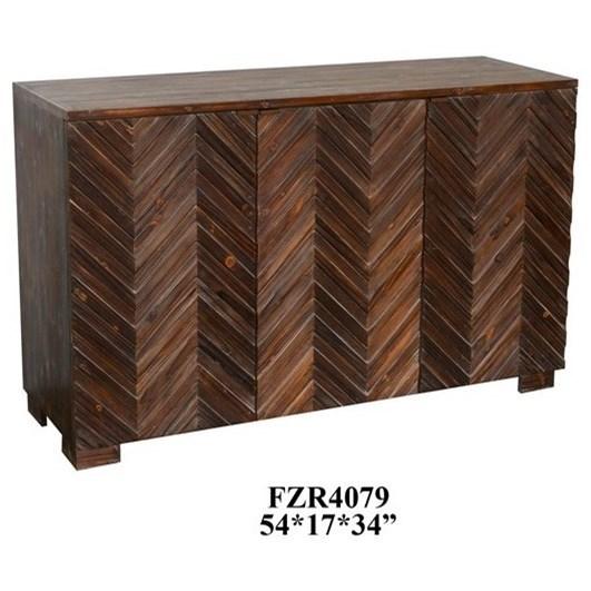 Raised 3 Door Rustic Wood Sideboard