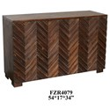 Crestview Collection Accent Furniture Raised 3 Door Rustic Wood Sideboard - Item Number: CVFZR4079
