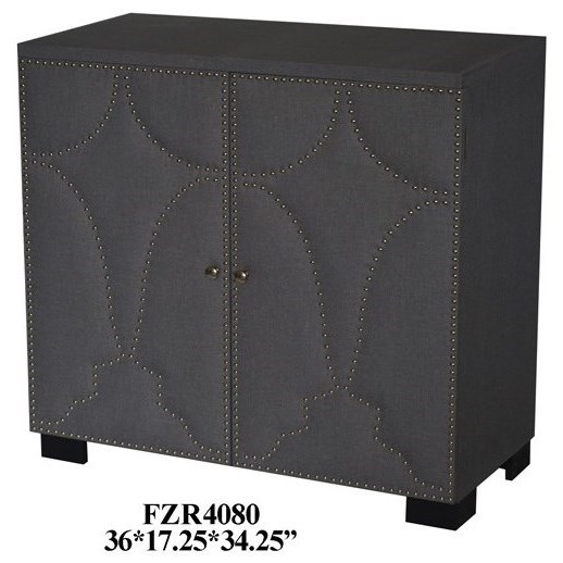 Accent Furniture 2 Door Grey Linen Nailhead Cabinet by Crestview Collection at Factory Direct Furniture