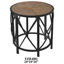 Crestview Collection Accent Furniture Metal and Rustic Wood End Table - Item Number: CVFZR4081