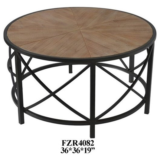 Accent Furniture  Metal and Wood Cocktail Table by Crestview Collection at Factory Direct Furniture