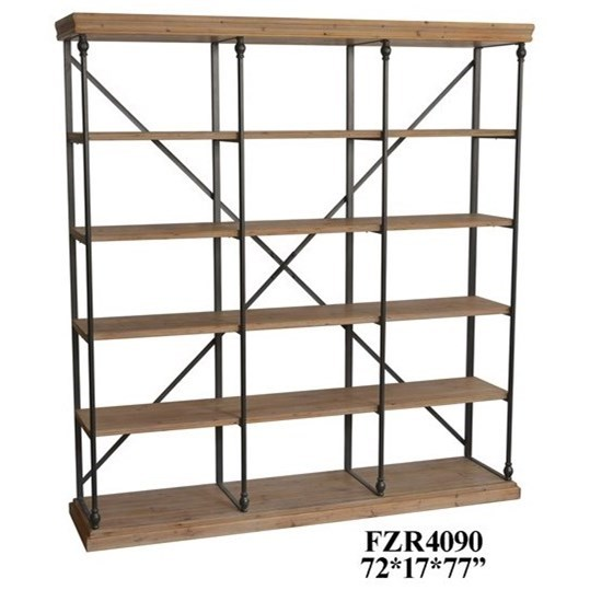 Accent Furniture Metal and Wood 3 Section Bookshelf by Crestview Collection at Factory Direct Furniture