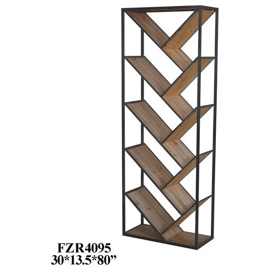 Metal and Wood Angled Etagere