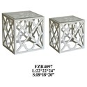 Crestview Collection Accent Furniture 2 Patterned Square Nested Tables - Item Number: CVFZR4097