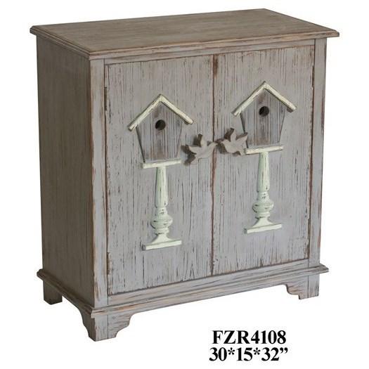 2 Door Distressed Grey Cabinet