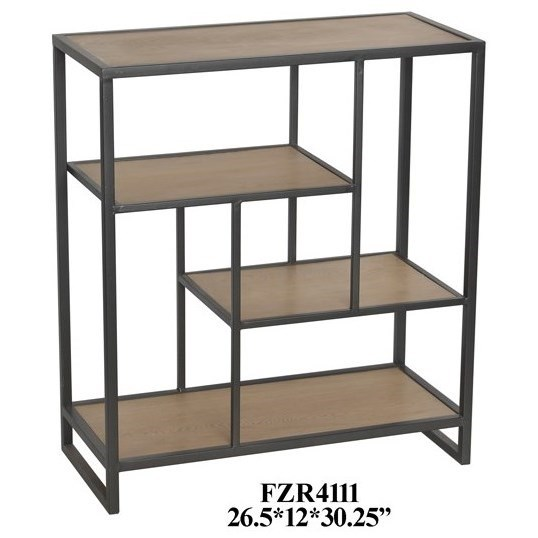 Accent Furniture Metal and Wood Offset Small Console by Crestview Collection at Factory Direct Furniture