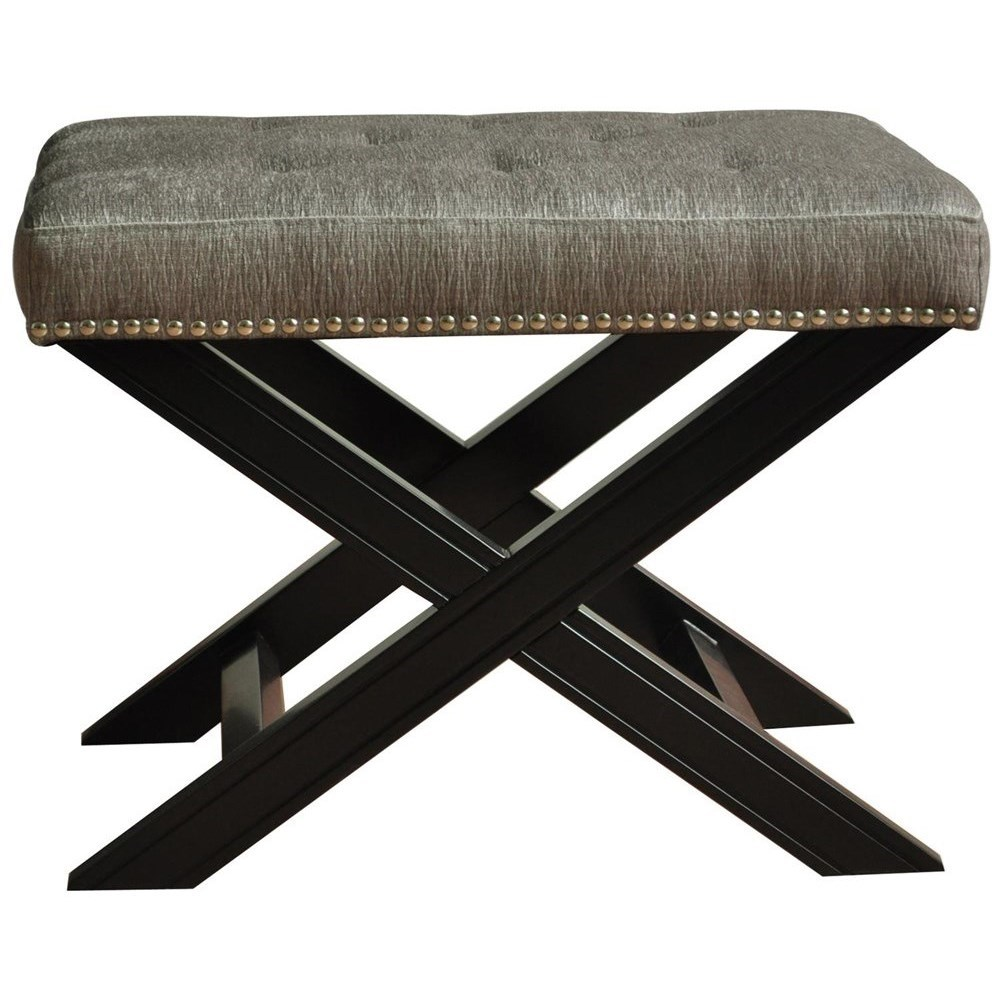 Accent Furniture Fifth Ave Textured Silver Nailhead Stool by Crestview Collection at Factory Direct Furniture