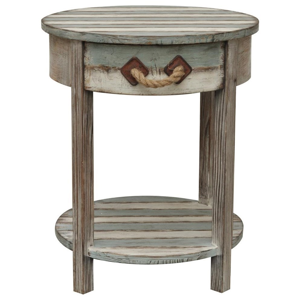 Accent Furniture Nantucket 1 Drawer Weathered Wood Accent Tab by Crestview Collection at Factory Direct Furniture