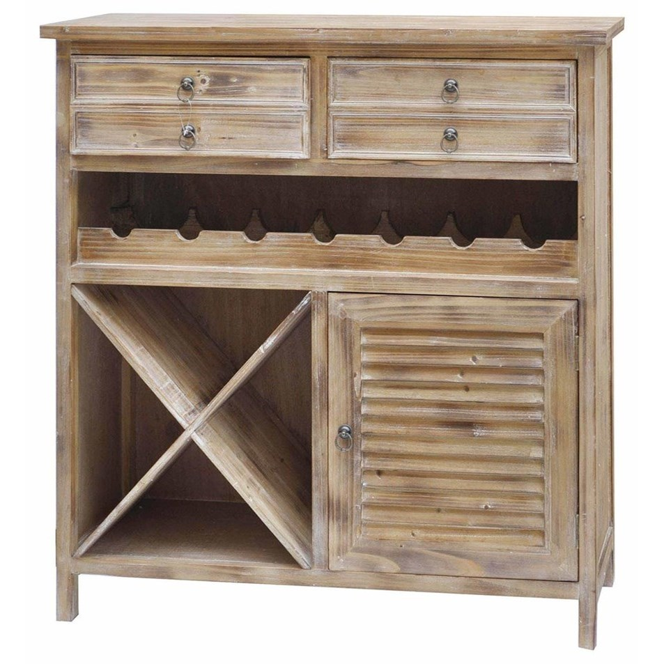 Accent Furniture Jackson 2 Drawer Weathered Oak Wine Cabinet by Crestview Collection at Factory Direct Furniture