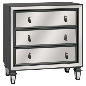 Crestview Collection Accent Furniture Hollywood 3 Drawer Gunmetal & Mirrored Chest