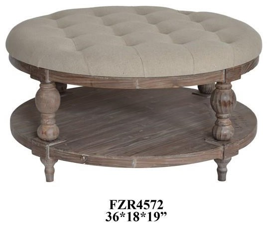 Tahoe Rustic Wood and Round Linen Ottoman