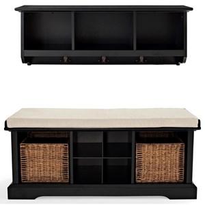 Crosley Furniture Brennan 2 PC Bench and Shelf Set