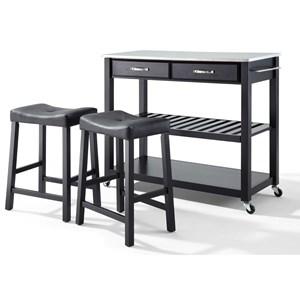 Crosley Furniture Kitchen Prep Kitchen Cart/Island Set