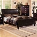 Crown Mark Tomas Queen Faux Leather Upholstered Bed - Bed Shown May Not Represent Size Indicated. Shown with Claret Chest.