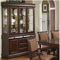 Crown Mark Merlot Buffet with Six Drawers - Shown with Buffet Hutch to Create a China Cabinet