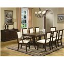 Crown Mark Merlot Buffet with Six Drawers - Shown with Dining Table, Side Chairs, Arm Chairs
