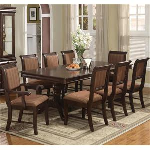 Crown Mark Merlot 9 Piece Table & Chair Set