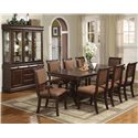 Crown Mark Merlot 9 Piece Table & Chair Set - Shown with Buffet & Hutch