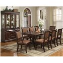 Crown Mark Merlot Dining Side Chair with Striped Upholstered Seat and Seat Back - Shown with Arm Chair, Dining Table, Buffet and Hutch