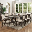 Del Sol CM Merlot 9 Piece Table & Chair Set - Item Number: 2147-LEG-GY+TOP-GY+2xA-GY+6xS-GY