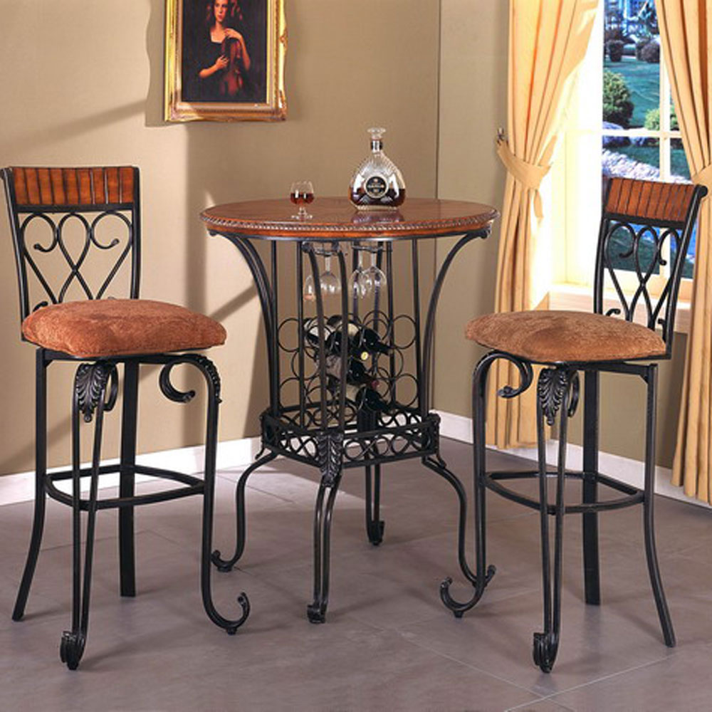 Crown Mark Alyssa 3 Piece Bar Table Set - Item Number 2980T+2xStools & Crown Mark Alyssa Three Piece Round Pub Table and Upholstered Seat ...