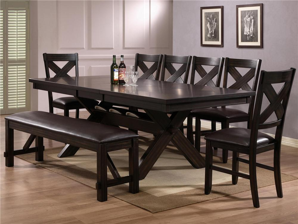 CM Havana 6 Piece Table and Chair Set - Item Number: 2335T-4290-LEG+TOP+4xS+BENCH