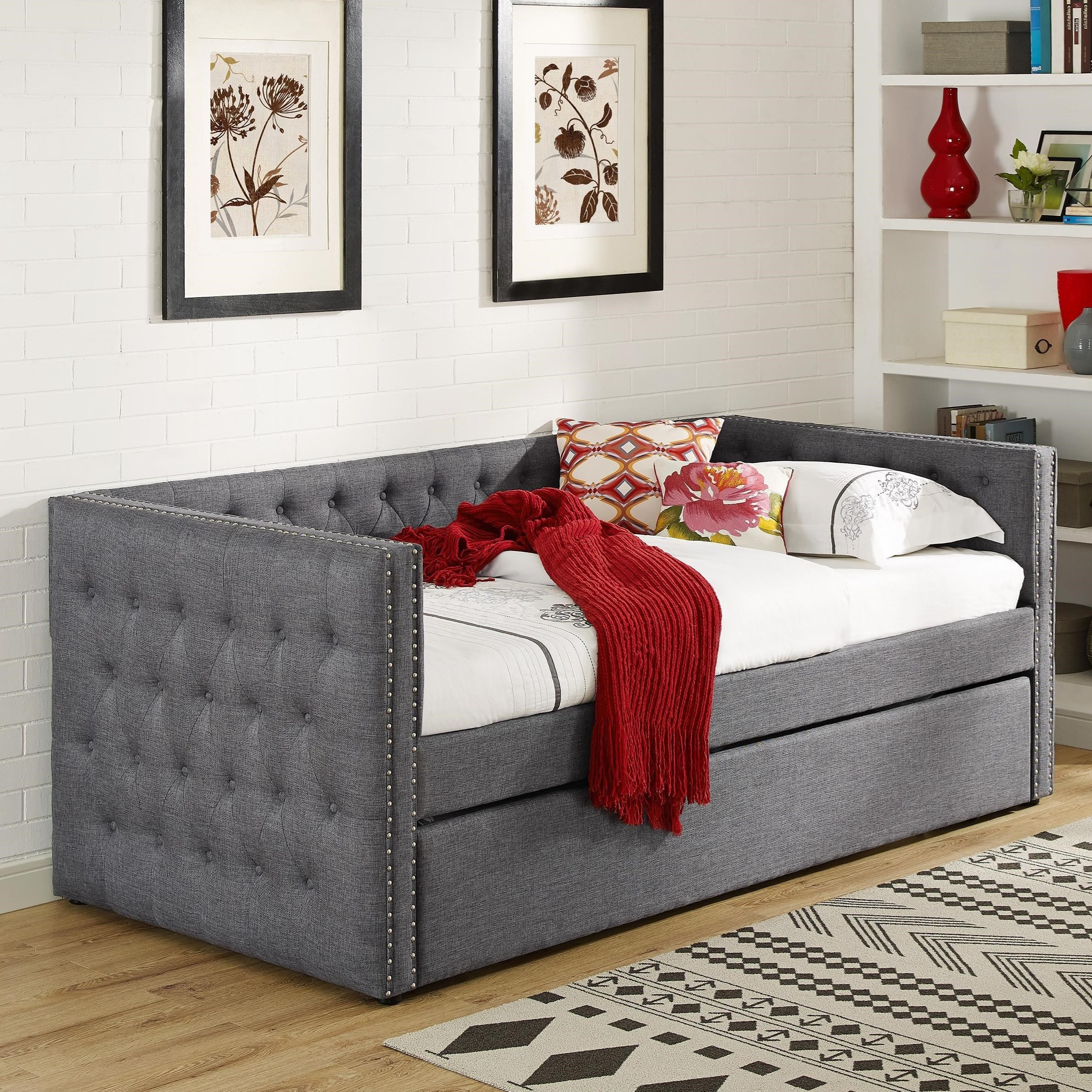 Crown Mark 5335 Grey Upholstered Daybed With Button