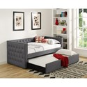 Crown Mark 5335 Grey Upholstered Daybed with Button Tufting and Pull-Out Trundle Bed