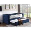 Crown Mark 5335 Navy Upholstered Daybed with Button Tufting and Pull-Out Trundle Bed
