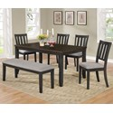 Crown Mark Amber 6 Pc Dining Set w/ Bench - Item Number: 2362T-3660+4X2362S+2362-BENCH