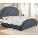 Crown Mark Annette Queen Upholstered Bed - Item Number: 5018GY-Q-HB+FB+KQ-RAIL