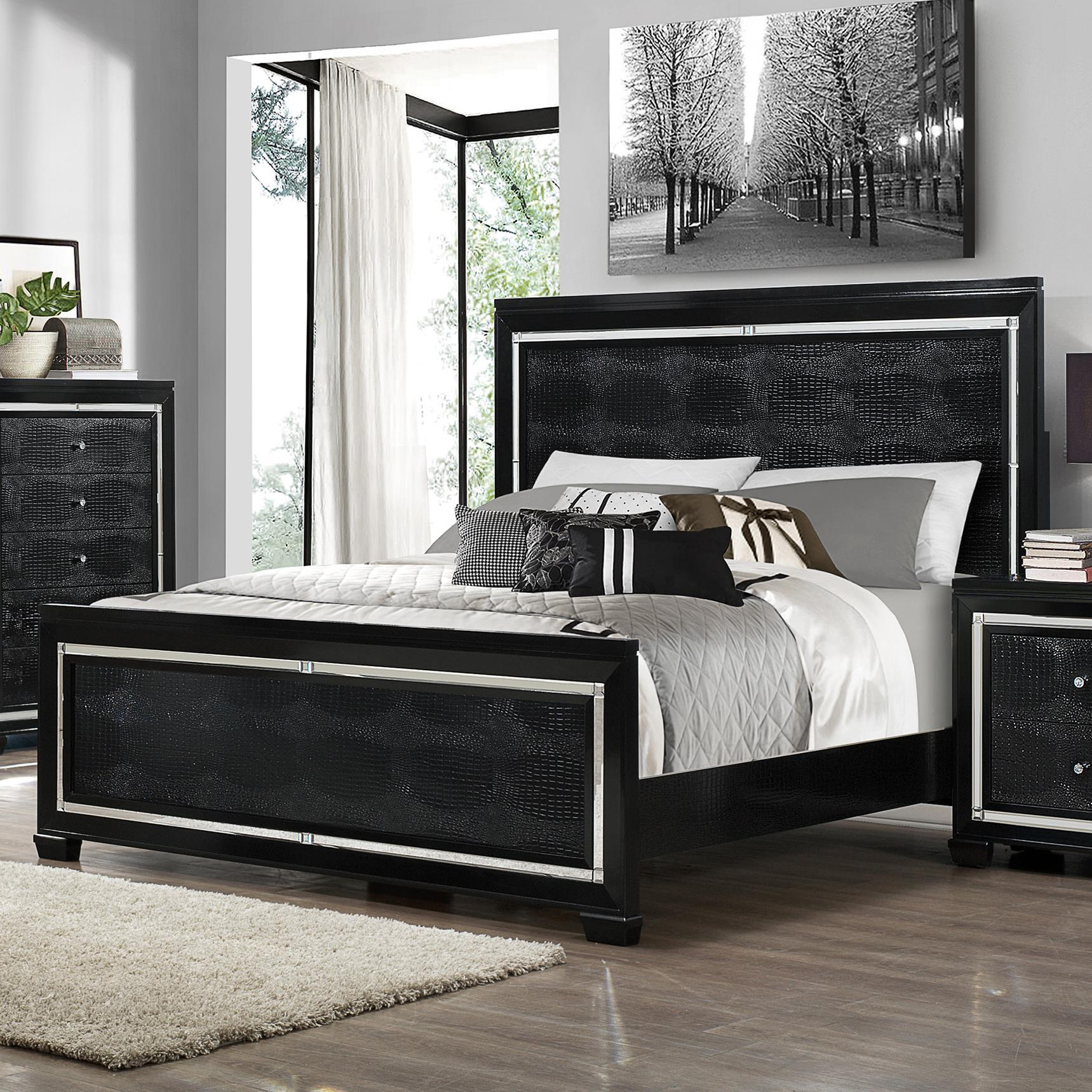 Crown Mark Aria Queen Bed - Item Number: B7200-KQ-RAIL+Q-HB+FB