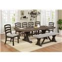 Crown Mark Armina 6 Piece Dining Set with Bench - Item Number: 2296-BENCH+4xS+T-4296-TOP+LEG